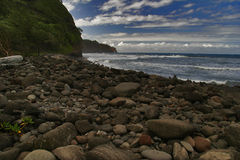 Black stones beach of Hawaii Stock Photo
