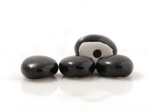 Black stones for fireplace Royalty Free Stock Image