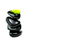 Black stones with green leafs. Stack of black spa stones with green leaf Stock Image