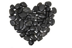 Black stones heart isolated Stock Photo