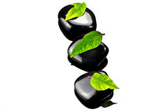 Black stones with leafs. Black SPA stones with green leaf and reflection on glass Royalty Free Stock Image