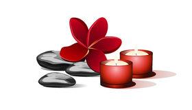 Black stones and red candles. Black stones and red candles with flower Royalty Free Stock Images