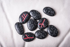 Black stones runes Stock Photos