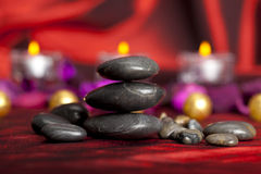 Black stones - spa treatment Royalty Free Stock Photos