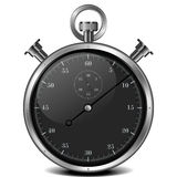 Black stop watch. Illustration of a metal analog stop watch Stock Photos