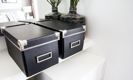 Black storage boxes Royalty Free Stock Photography