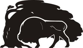 Black storm. Drawing of black a bison Royalty Free Stock Photo