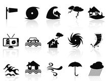 Black storm icons set Royalty Free Stock Images