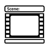 Black storyboard icon. Storyboard template icon in form of a film. Scenario for media production. Flat vector cartoon illustration. Objects isolated on a white Stock Photos
