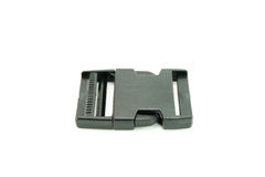 Black strap lock plastic buckle. On white ground Stock Images