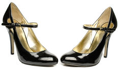 Black strappy shoes Royalty Free Stock Images