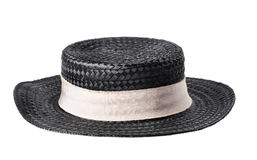 Black straw hat isolated on white Stock Photos