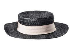 Black straw hat isolated on white. Background Stock Photos
