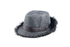 Black straw hat isolated on a white background Stock Image