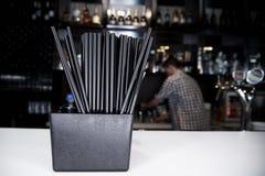 Black straws royalty free stock image