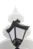 Black street lamp post against the sky. Black street lamp post against a light sky Stock Photo