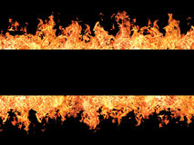 Black stripe and fire flames Royalty Free Stock Photography