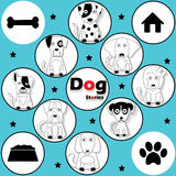 Black striped dog icons Stock Image