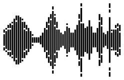Black striped equalizer sound music wave isolated on white backg. Round Stock Images