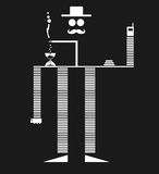 Black Striped Mustachio Man Robot Smoking. Modern Art Of Mustachio Corporate Man Robot Smoking On The Way To Office Royalty Free Stock Image