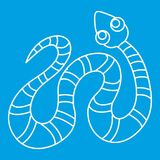 Black striped snake icon, outline style Royalty Free Stock Images