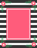 Black stripes and pink flowers invitation card Stock Photos