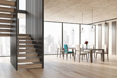 Black and stripped dining room interior, side Stock Photo
