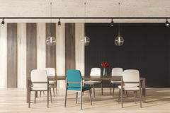 Black and stripped dining room interior Stock Photo