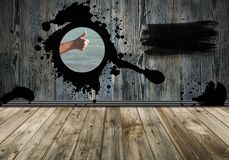 black stroke of the paint brush on wooden background. Copy space vector illustration