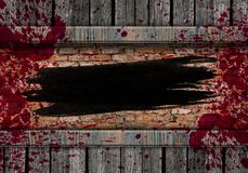 Black stroke of the paint brush on wooden background. Copy space royalty free stock photos