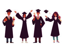 Black students in traditional caps and gowns celebrating successful graduation Stock Images