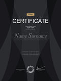 Black stylish certificate. Template for diploma. Strict modernis Stock Photo
