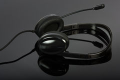 Black stylish headphone with microphone Royalty Free Stock Image