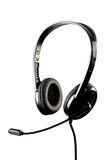 Black stylish headphone with microphone Royalty Free Stock Photo