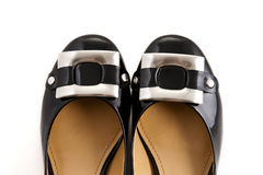 Black stylish leather female shoe Royalty Free Stock Images