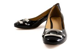 Black stylish leather female shoe Stock Images