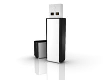 Black stylish USB flash drive Stock Photo