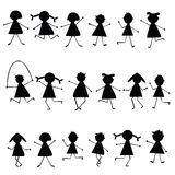 Black stylized children silhouettes Royalty Free Stock Photo