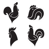 The black stylized cocks Stock Images