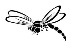 Black stylized dragonfly flying insect. Predatory insects with long, slender body and two pairs of large transparent wings, producing a characteristic noise when Royalty Free Stock Image