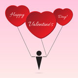 Black stylized figure with heart balloons and text. Valentine card - black stylized figure with three red heart balloons and white text Stock Photography