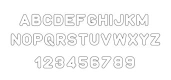 Black of stylized modern font and alphabet vector illustration