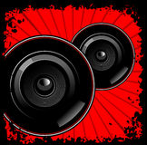 Black Sub-woofers On Red. Black Sub-woofers Red Background Black Grunge. Vector Illustration. No Meshes Stock Images