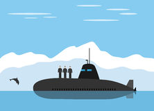 Black submarine and icy landscape Stock Images
