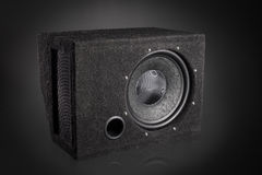 Black subwoofer speaker car audio music system Royalty Free Stock Photography