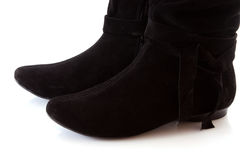 Black suede boots Royalty Free Stock Photo