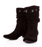 Black suede boots Stock Photo