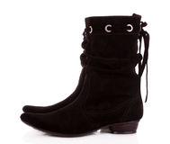 Black suede boots  isolated Stock Photography