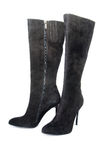 Black suede female boots Stock Photography