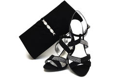 Black Suede Female Shoes And Handbag With Pastes Stock Photo